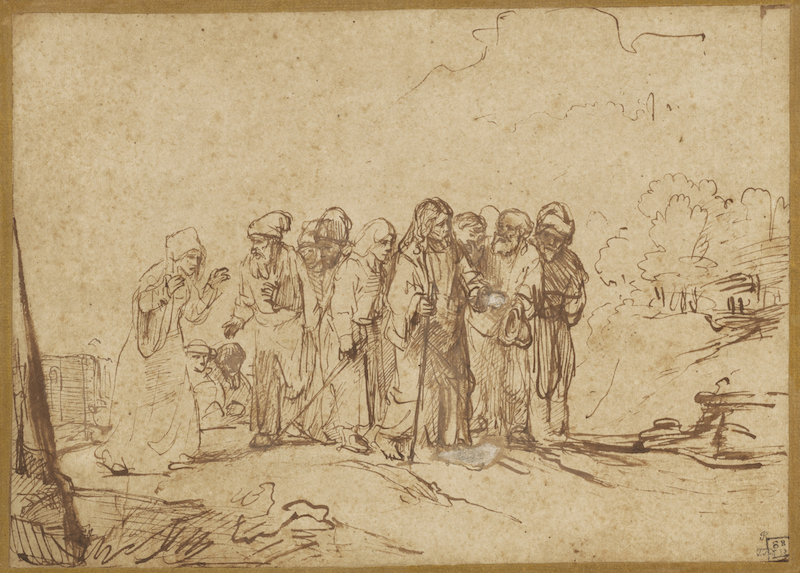 Christ and the Canaanite Woman; Rembrandt Harmensz. van Rijn (Dutch, 1606 - 1669); about 1650; Pen and brown ink, brown wash, corrected with white gouache; 20 × 27.9 cm (7 7/8 × 11 in.); 83.GG.199